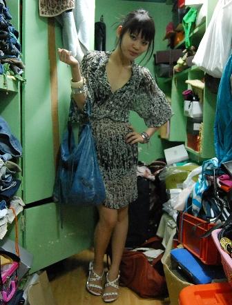 dress: thrifted, bag: balenciaga, pyramid stilletos