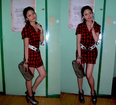 plaid dress: freeway, belt: vintage, metallic gray booties, clutch: vintage gucci