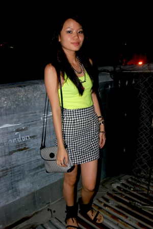 neon top: american apparel, vintage sling: gucci, houndstooth skirt, half boot-half flats, belt (worn as necklace): guess