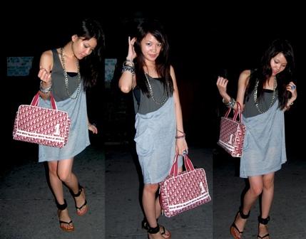 dress: thrifted, bag: dior, chain: DV
