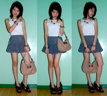 top: plains and prints, necklace: h&m, skirt: thrifted, bag: fendi, heels: balenciaga